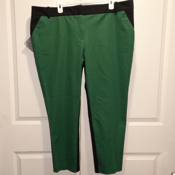 d60bc50fa45 Ava   Viv Green Black Ankle Pants Stretch Plus 22W
